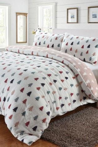 Fleece Winter Trees Duvet Cover and Pillowcase Set