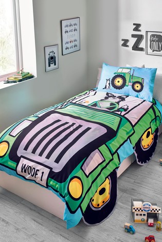 Shaped Tractor Duvet Cover and Pillowcase Set