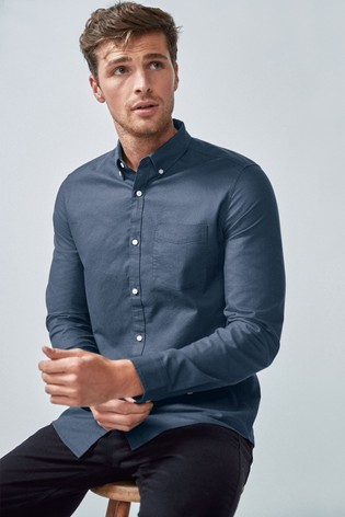 Dark Blue Regular Fit Long Sleeve Oxford Shirt