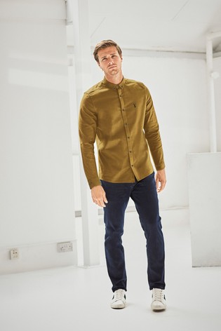 Yellow Slim Fit Long Sleeve Stretch Oxford Shirt