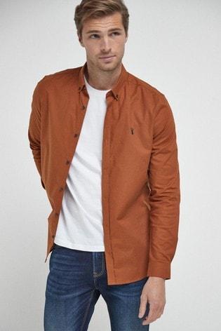 Orange Slim Fit Long Sleeve Stretch Oxford Shirt