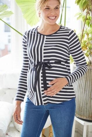 Navy Maternity Adjustable Tie Waist Stripe Jersey Top