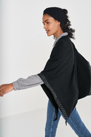 Black Diamanté Studded Poncho