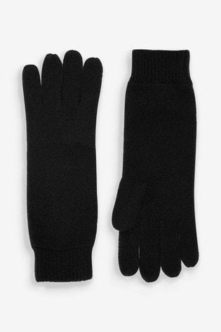Black Ribbed Cashmere Gloves