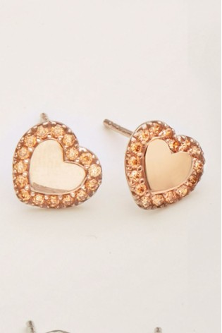 Rose Gold Plated Sterling Silver Cubic Zirconia Heart Stud Earrings