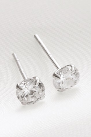 Sterling Silver Plated Cubic Zirconia Stud Earrings