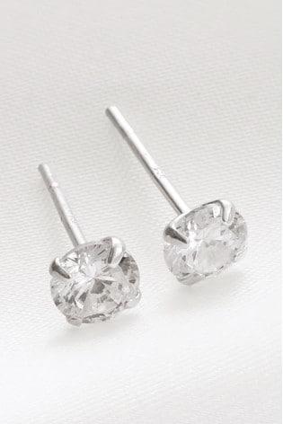 Sterling Silver Plated Cubic Zirconia Stud Earrings