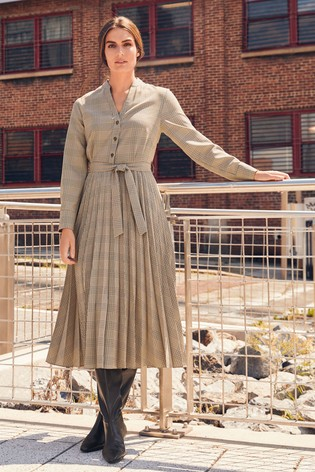Neutral Check Pleated Dress
