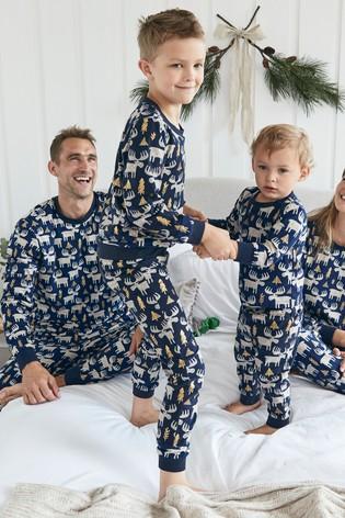 Navy Matching Family Kids Christmas Moose Pyjamas (9mths-16yrs)
