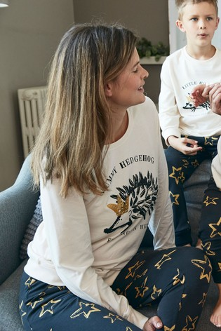Cream Matching Family Womens Christmas Hedgehog Pyjamas
