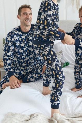 Navy Matching Family Mens Christmas Moose Pyjamas