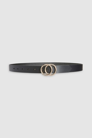 Black Leather Circle Buckle Jeans Belt