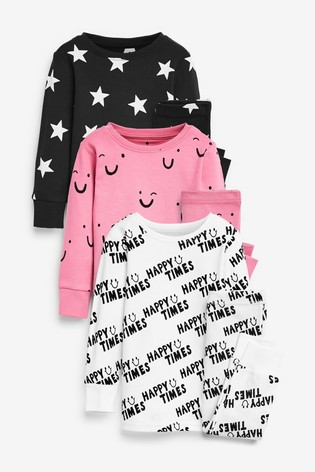 Monochrome 3 Pack Smiles/Slogan/Star Snuggle Pyjamas (9mths-12yrs)