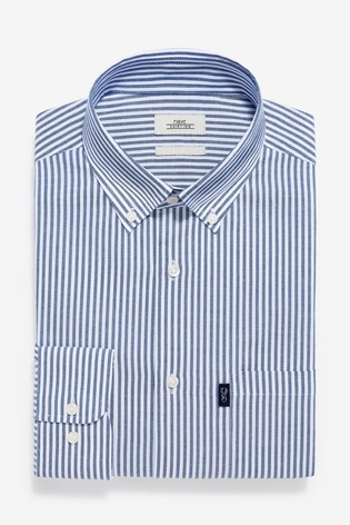Navy Stripe Slim Fit Single Cuff Easy Iron Button Down Oxford Shirt