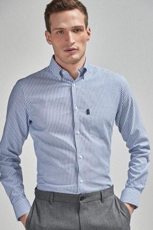 Navy Stripe Slim Fit Single Cuff Easy Iron Button Down Oxford Shirt