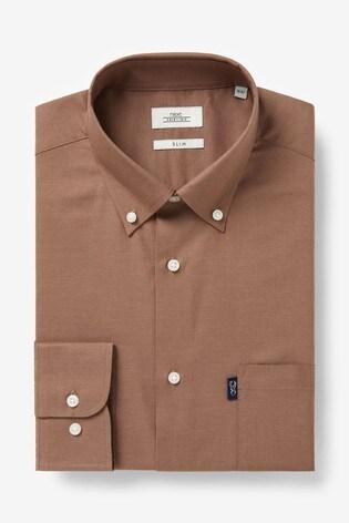 Walnut Slim Fit Single Cuff Easy Iron Button Down Oxford Shirt