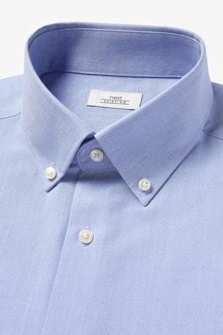 Pale Blue Slim Fit Single Cuff Easy Iron Button Down Oxford Shirt