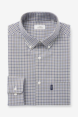 Olive/Navy Gingham Slim Fit Single Cuff Easy Iron Button Down Oxford Shirt