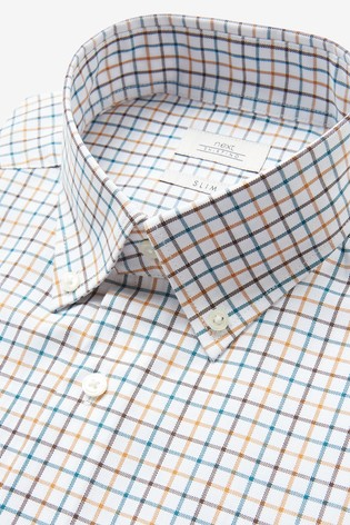 Ochre Tattersall Check Slim Fit Single Cuff Easy Iron Button Down Oxford Shirt