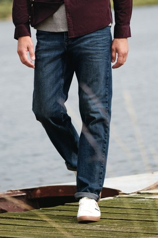 Vintage Wash Bootcut Fit Belted Jeans With Stretch