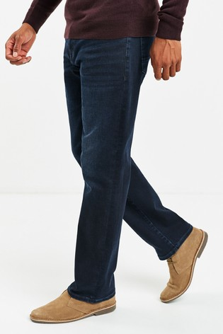 Deep Blue Loose Fit Belted Jeans With Stretch