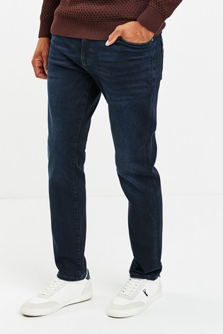Deep Blue Slim Fit Belted Jeans With Stretch