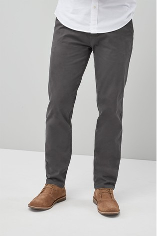 Dark Grey Slim Fit Stretch Chinos