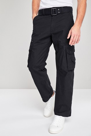 Black Belted Tech Cargo Trousers