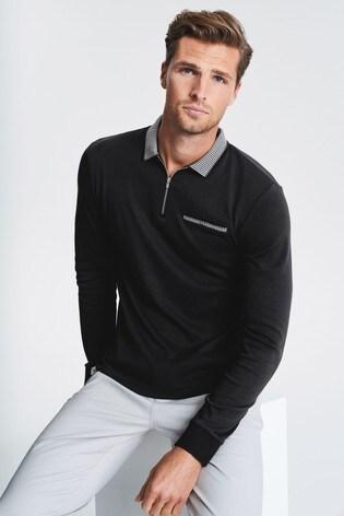 Black Zip Neck Long Sleeve Smart Polo