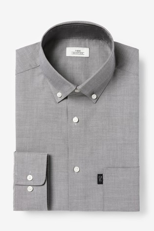 Light Grey Slim Fit Single Cuff Easy Iron Button Down Oxford Shirt