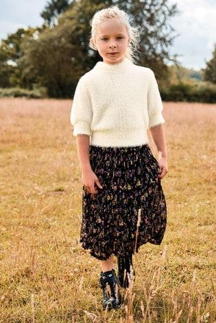 Black Floral Pleated Skirt (3-16yrs)