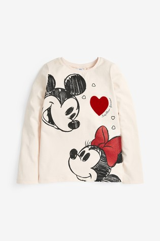 Ecru Minnie Mouse™ And Mickey Heart T-Shirt (3-16yrs)