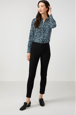 Pure Collection Black Cotton Stretch Skinny Trouser