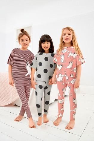 Pink/Black 3 Pack Cat Legging Pyjamas (3-16yrs)