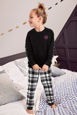 Monochrome Cosy Sweat Top With Woven Bottoms Pyjama Set (3-16yrs)