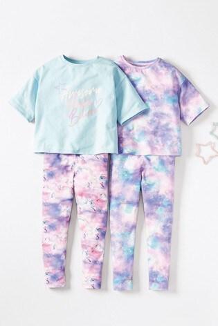 Lilac/Blue 2 Pack Unicorn Print Cropped Top Pyjamas (3-16yrs)
