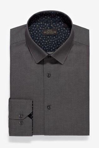 Charcoal Slim Fit Single Cuff Trim Detail Signature Shirt