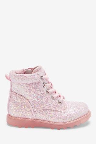 Pink Glitter Light-Up Boots