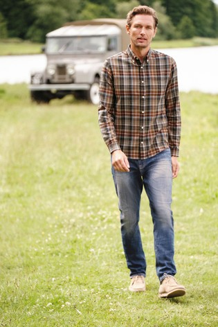 Grey/Brown Regular Fit Brushed Flannel Check Long Sleeve Shirt