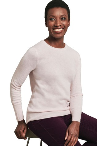 Pure Collection Pink Cashmere Crew Neck Sweater