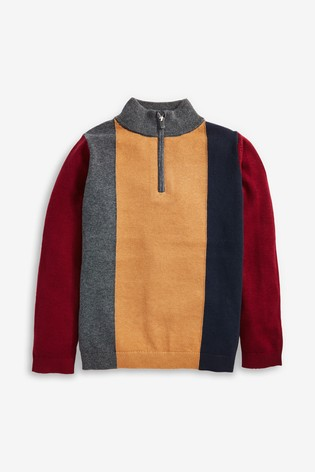 Plum Zip Neck Jumper (3-16yrs)