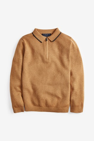 Neutral Zip Neck Knitted Polo (3-16yrs)