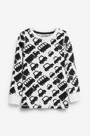 Monochrome Transport 3 Pack Snuggle Pyjamas (9mths-12yrs)