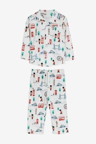 White London Bus Button Through Pyjamas (9mths-8yrs)