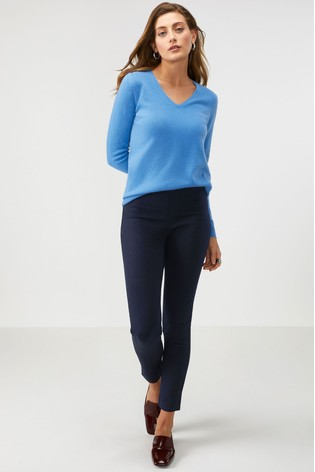 Pure Collection Blue Cotton Stretch Skinny Trousers