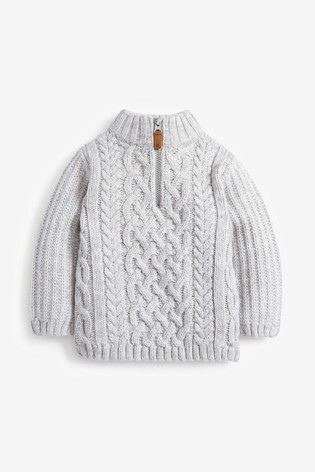 Grey Cosy Zip Neck Cable Jumper (3mths-7yrs)