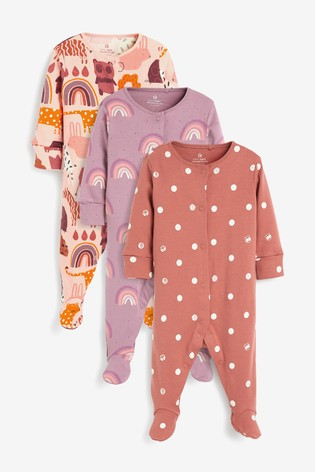 Rust Character 3 Pack Printed Sleepsuits (0-2yrs)