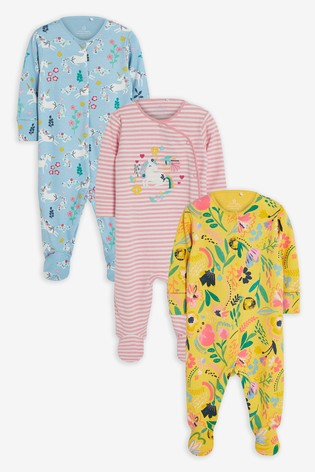 Pink 3 Pack Floral Unicorn Sleepsuits (0-2yrs)