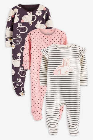Pink/Monochrome 3 Pack Bunny Sleepsuits (0mths-2yrs)