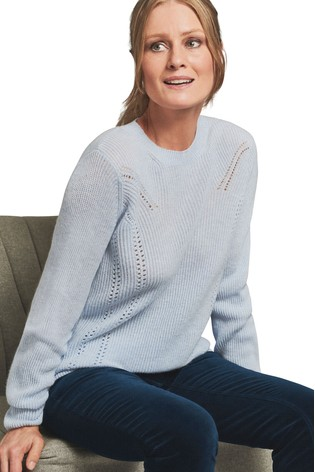Pure Collection Blue Gassato Ribbed Pointelle Sweater